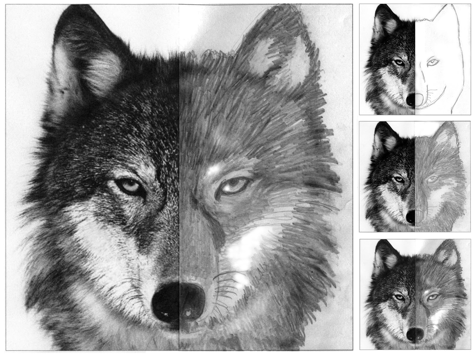finish the wolf face art projects for kids