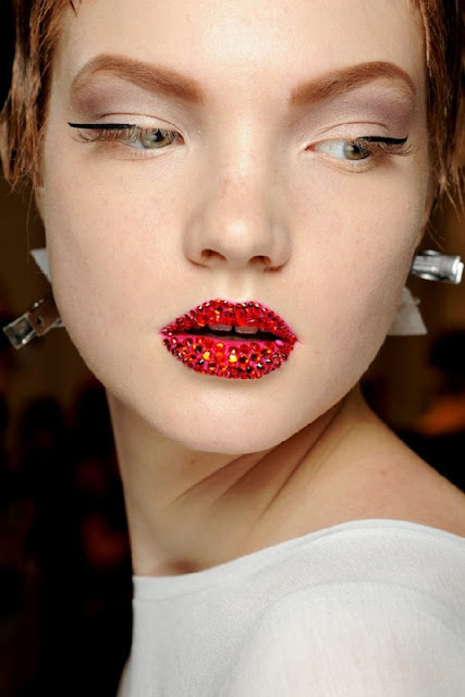 dior, couture, spring 2013, glitter lips, crystal lips