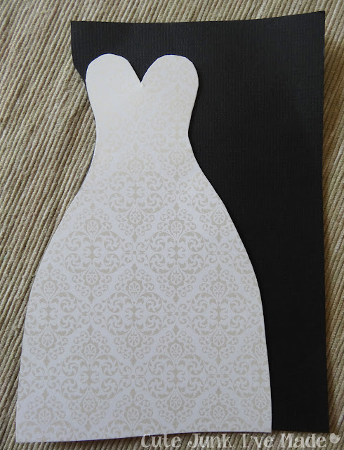 Homemade Wedding Card - dress on black paper excess removed
