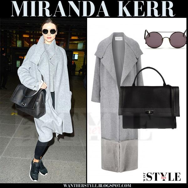 Miranda Kerr in grey amanda wakeley coat and black leggings what she wore models off duty