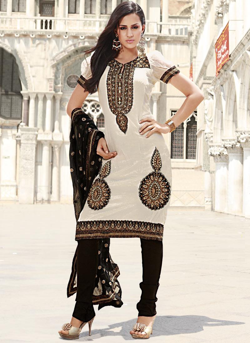 Off White and Black Shade Wedding Salwar Suit - Cbazaar Wedding ...