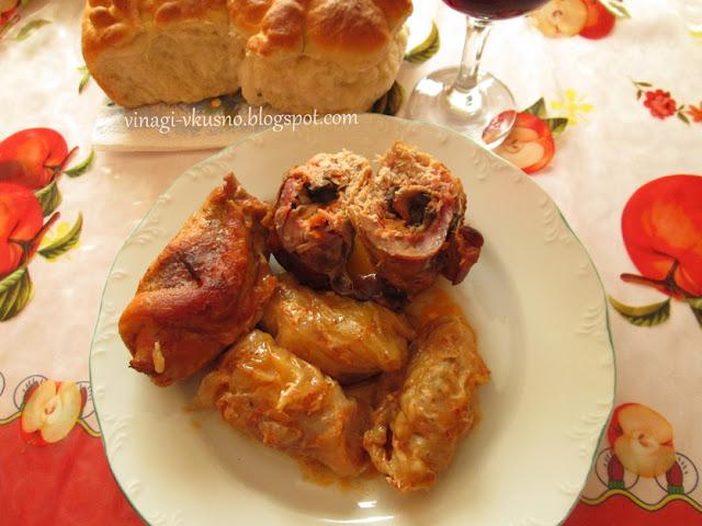 Рулца от свинско месо с гъби и бекон