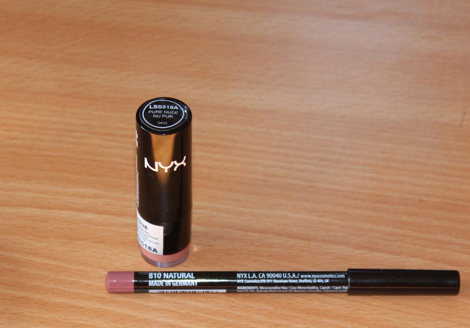 NYX Round Lipstick Pure Nude + olovka za usne Natural
