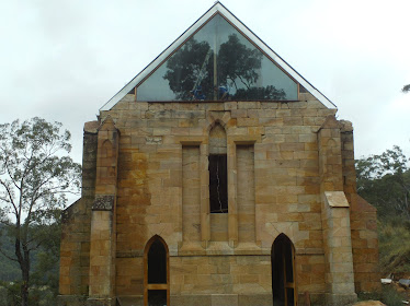 Huge window 7m wide and 3.5m high to back gable of church