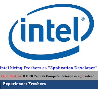 "Intel hiring Freshers as ""Application Developer"""