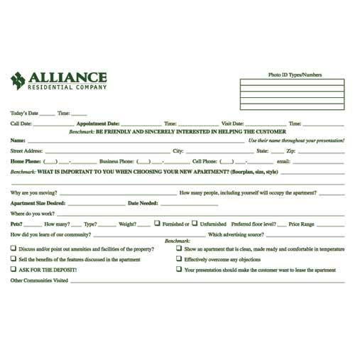MarketingLeasingTraining Ideas For Multifamily Housing by Jolene – Guest Card Template