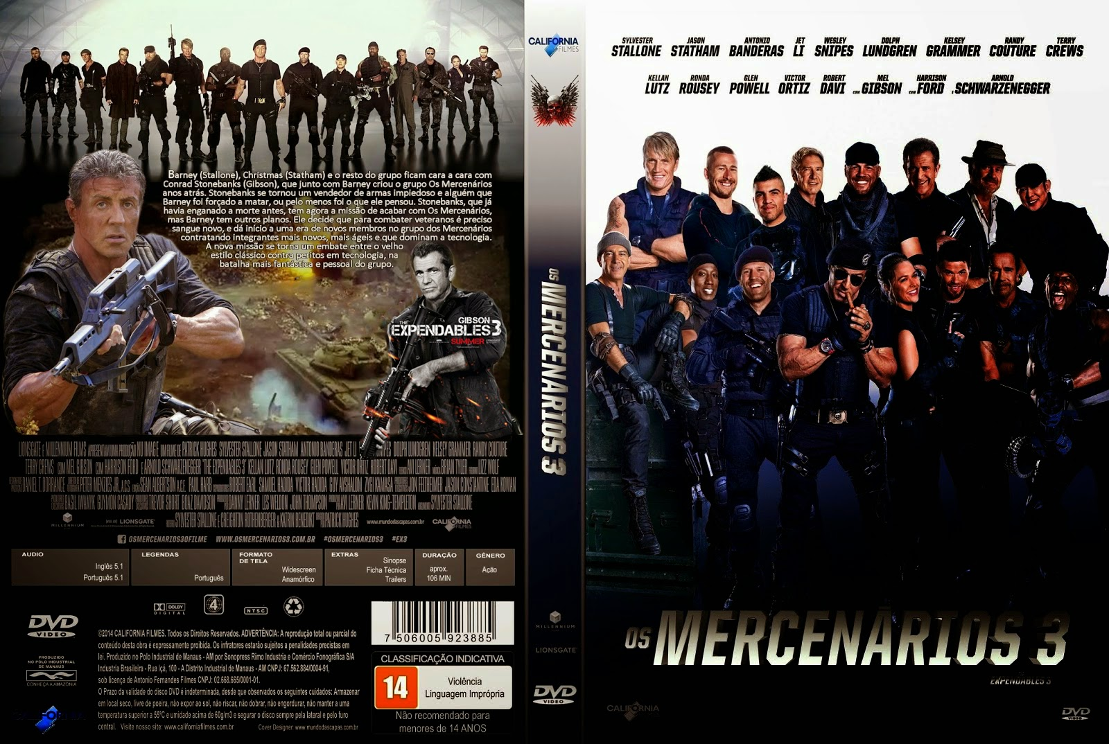 Os mercenários 3 (The expendables 3) BRrip + legenda Torrent
