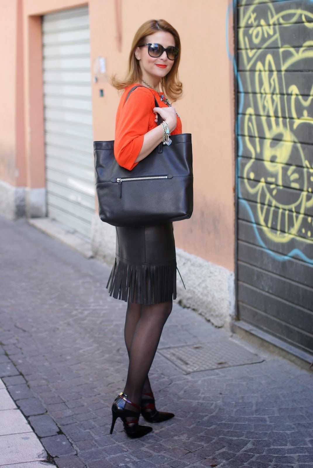 Blumarine leather fringed skirt, fringe hemline skirt, Miu Miu black tote, Fashion and Cookies fashion blog, fashion blogger