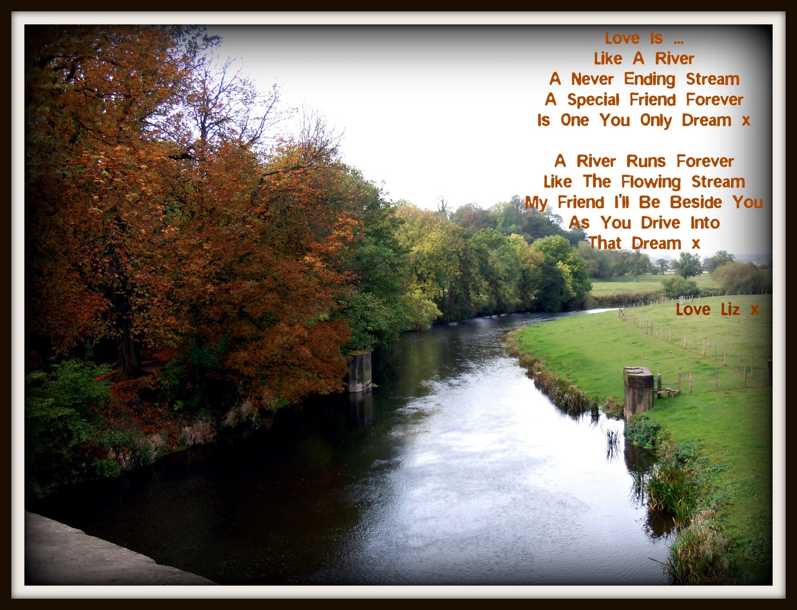 a river poem The river poetry activity is a good example of the children chose their favourite spot on the cherry brook river bank to murmur poetry-things to themselves.