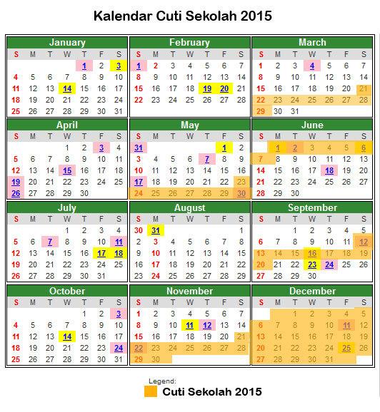 Kalender Cuti Umum Dan Cuti Sekolah Malaysia 2015 [3]