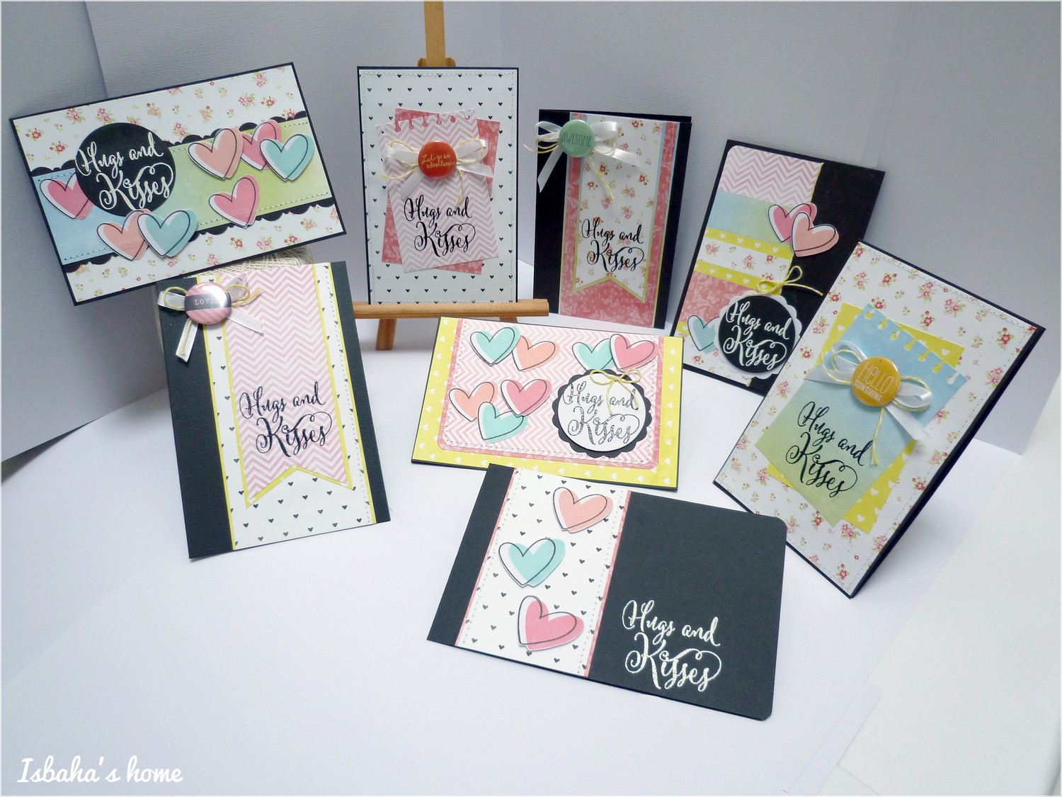 a set of cards, with sketches and cutting diagrams