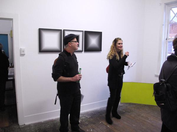 SNO 84 room shot, Magda Cebokli  artworks on wall.