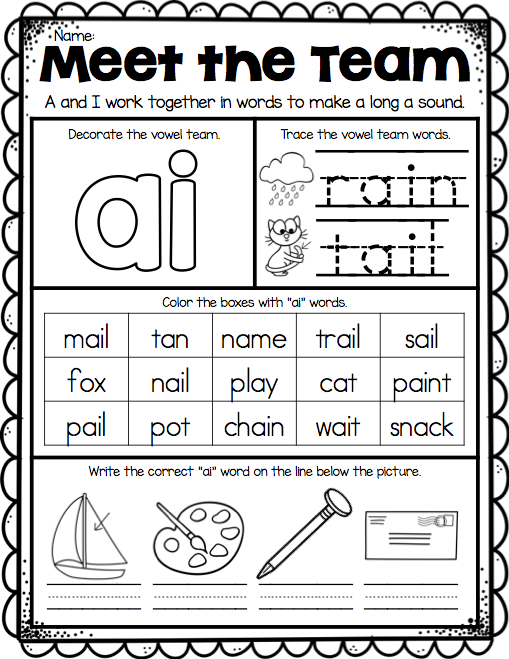 Long Vowels: Long A in Train | Worksheet | Education.com