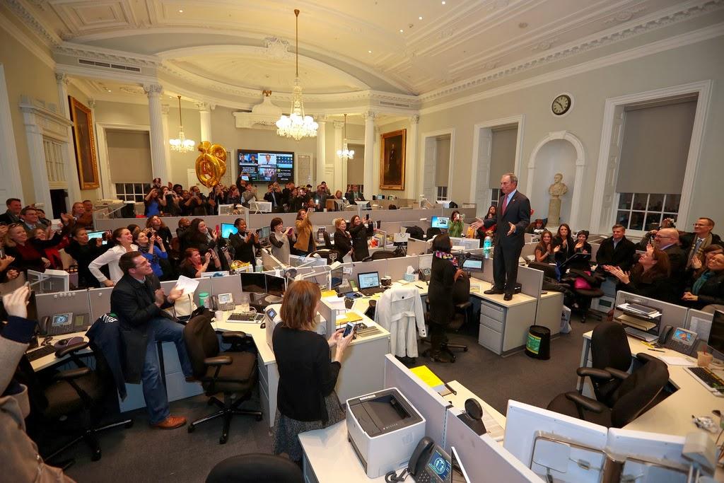 Майкл Блумберг говорит спасибо своим сотрудникам в последний день работы