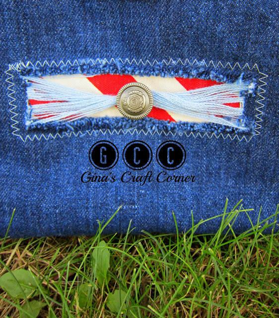 Blue Jean and Chevron Wristle by Gina's Craft Corner