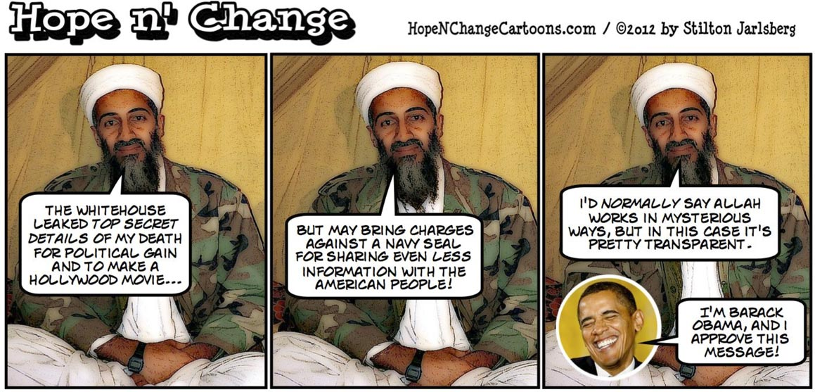 Pentagon says Navy Seal may reveal too much about bin Laden death in No Easy Day but doesn't criticize Obama leaks, hopenchange, hope and change, hope n' change, stilton jarlsberg, tea party, obama jokes