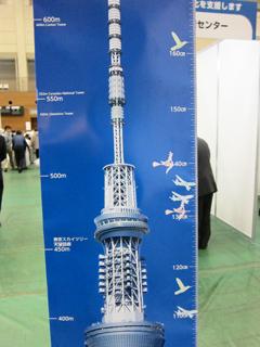 シールが貼られた「東京スカイツリー<sup>®</sup> ジャンボ身長計」