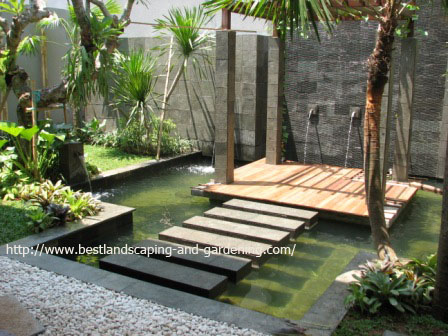 Airy Tropical Garden with Gazebo and Pond