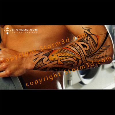 tribal koifish tattoo on forearm digital mockup