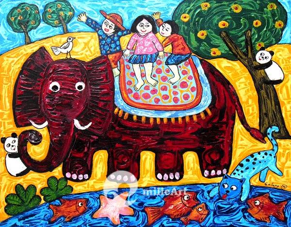 lukisan gajah naive