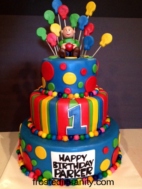 Frosted Insanity 1st Birthday Cake Primary Colors