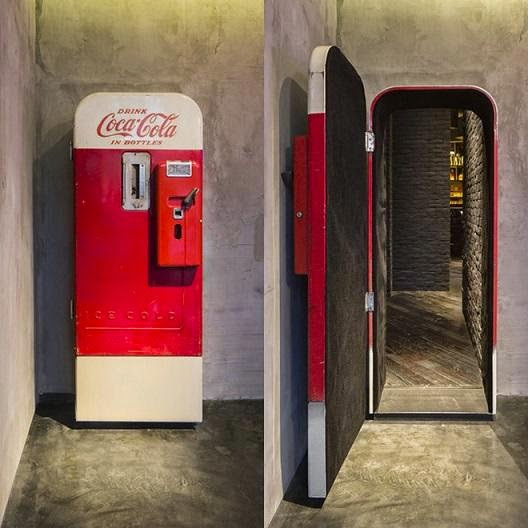 liquor store bar is hidden using coca-cola machine door, interesting news with pictures