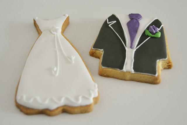 galletas de vestido de novia y de novio