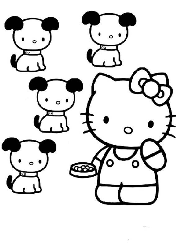 Desenhos Preto e Branco Hello Kitty Pets Colorir
