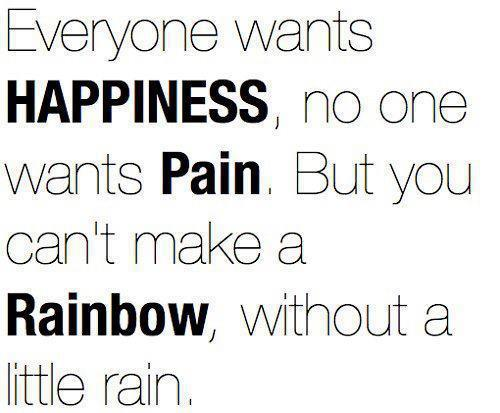 Everyone wants happiness, no one wants pain, but you can't make a rainbow, without a little rain.