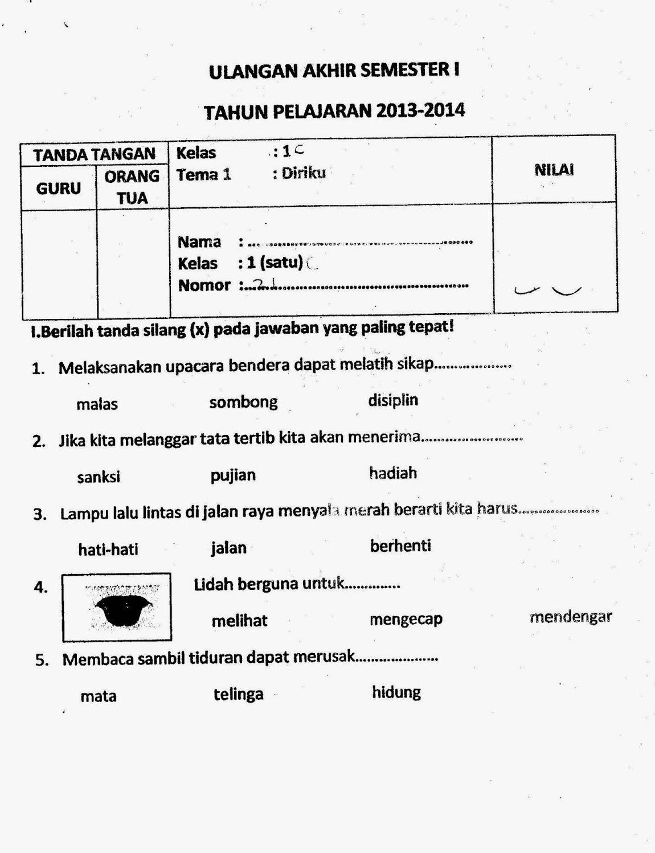 Soal Ujian Tematik Sd Kelas 1 Tema 1 Diriku Semester 1 B