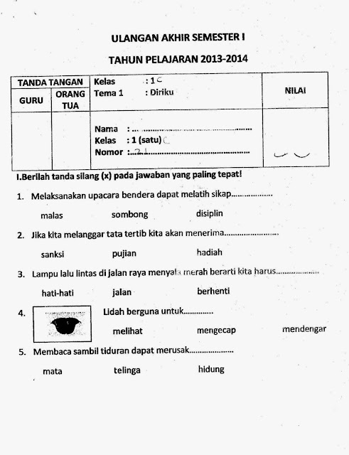 Soal Uas Kelas 1 Tema 1 Diriku Semester 1 Kurikulum 2013