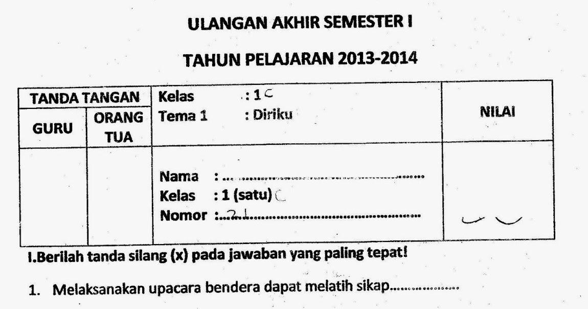 Ragam Budaya Nusantara Soal Uas Kelas 1 Tema 1 Diriku Semester 1 Kurikulum 2013