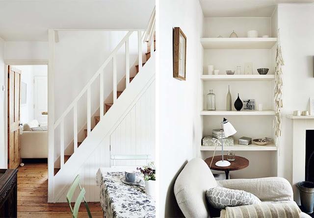 Escalera de madera con barandilla