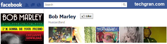 Bob Marley on Facebook, Musician/Band