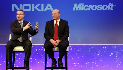 Nokia's CEO Stephen Elop and Microsoft's CEO Steven Ballmer