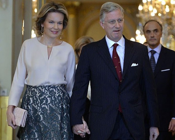 Queen Mathilde of Belgium and King Philippe of Belgium held a traditional New Year's reception for the Members of Belgian Parliament