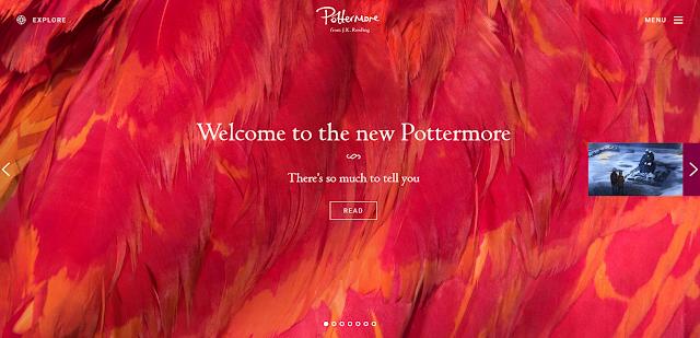 Homepage del nuovo Pottermore