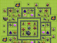 Contoh Layout Base War Clash Of Clans (COC) Defense Anti Naga dan Balon TH 9