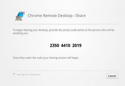 Chrome remote desktop sharing