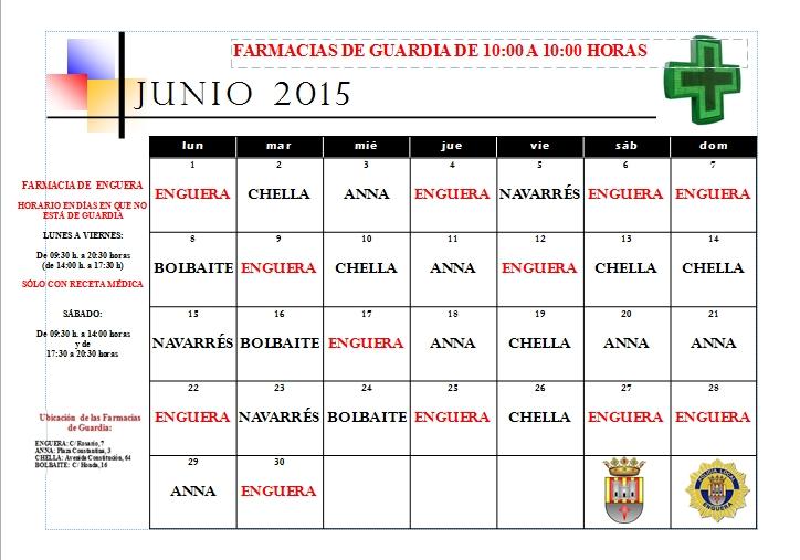 FARMACIAS DE GUARDIA JUNIO 2015