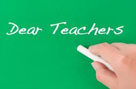 green chalkboard with Dear Teachers written on it