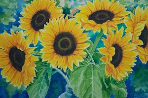 zonnebloemen geschilderd door mijn vader