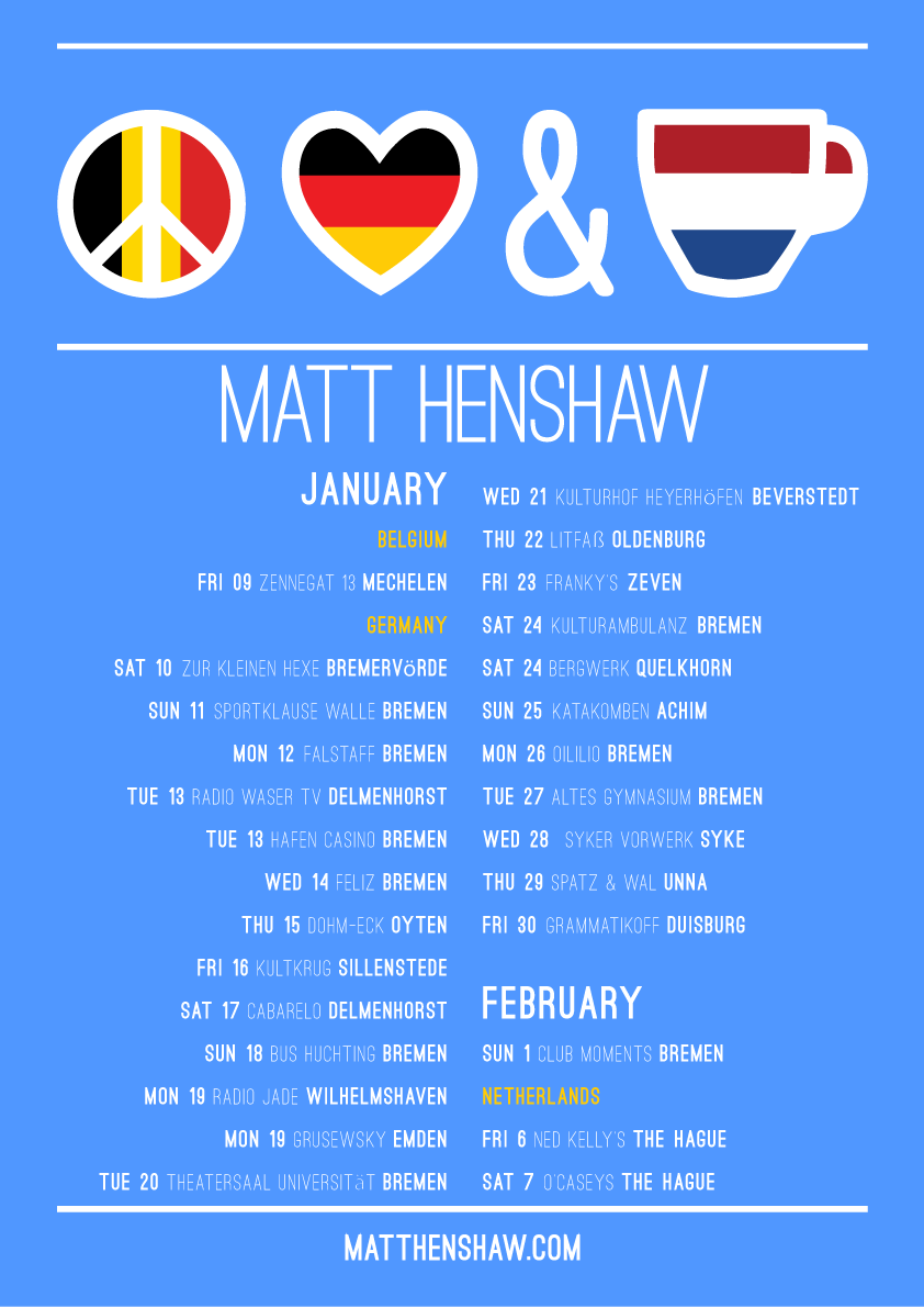 Matt Henshaw European Tour Dates Poster