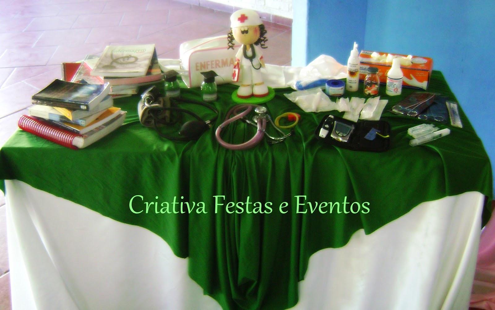 Criativa Festas e Eventos Formatura Técnico em Enfermagem Verde, Branco e Rosa -> Decoracao Formatura Enfermagem