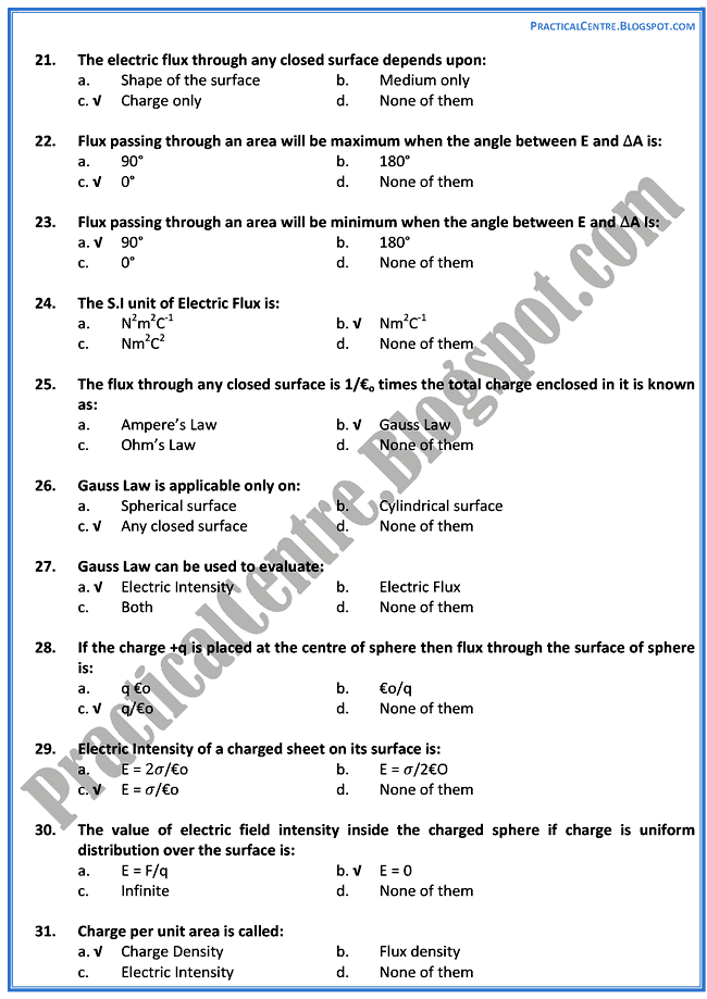 electrostatics-mcqs-physics-12th