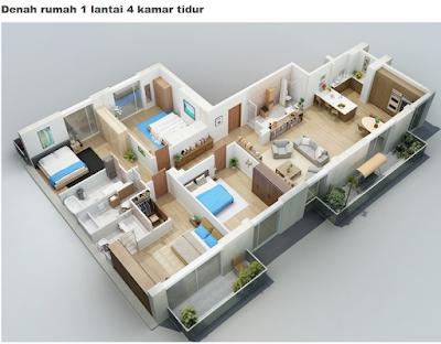 Sketsa Rumah Minimalis 4 Kamar Tidur
