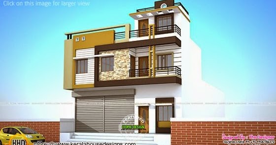 Simple House Front Elevation Designs For Double Floor : House plans with shops on ground floor kerala home