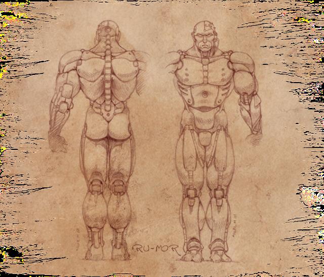 Concept art para miniatura realizado por ªRU-MOR basado en una ilustración de Chichoni. De temática Sci-Fi, cibernético y robótico. Warhammer 40000