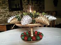 Centro de navidad con vela, enredandonogaraxe