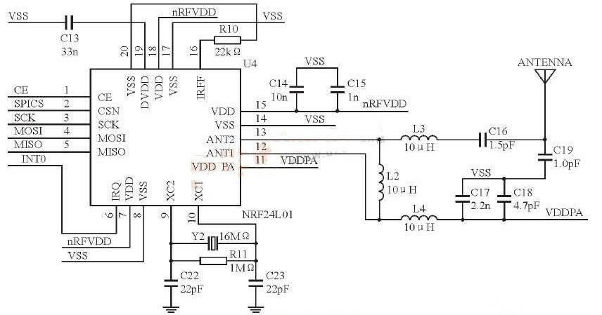 electronic circuit  the radio frequency receives and dispatches the circuit nrf24l01